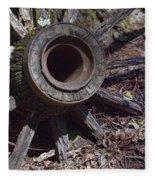 Time Worn Antique Wagon Wheel Fleece Blanket