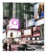 Times Square At Night Fleece Blanket