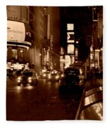 Times Square At Night - In Copper Fleece Blanket