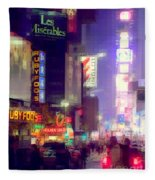 Times Square At Night - Columns Of Light Fleece Blanket