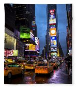 Times Square In The Rain Fleece Blanket