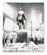 Times Square In The Snow - New York City Fleece Blanket