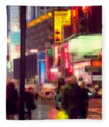 Times Square - Man Walking With Yellow Bag Fleece Blanket