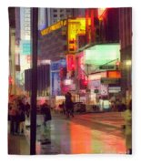 Times Square With Runaway Horse Fleece Blanket