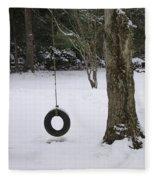 Tire Swing In Winter Fleece Blanket