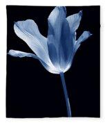 To The Light Tulip Flower In Blue Fleece Blanket