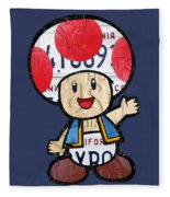 Toad From Mario Brothers Nintendo Original Vintage Recycled License Plate Art Portrait Fleece Blanket