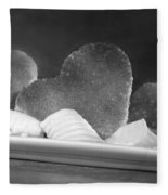 Toast Hearts With Butter Black And White Fleece Blanket