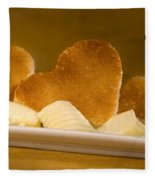 Toast Hearts With Butter Fleece Blanket