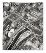 Tokyo Intersection Black And White Fleece Blanket
