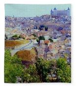 Toledo Spain In Blue Fleece Blanket