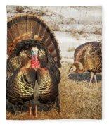 Tom Turkey And Hen Fleece Blanket