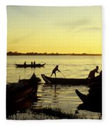 Tonle Sap Sunrise 05 Fleece Blanket