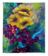 Too Delicate For Words - Yellow Flowers And Red Grapes Fleece Blanket