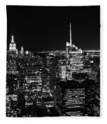 Top Of The Rock In Black And White Fleece Blanket