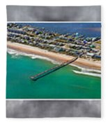 Topsail Island Aerial Panels II Fleece Blanket