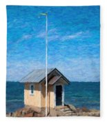 Torekov Beach Hut Painting Fleece Blanket