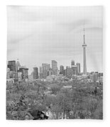 Toronto In Black And White Fleece Blanket