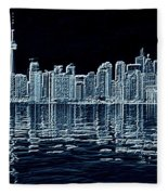 Toronto Skyline In Blue Fleece Blanket