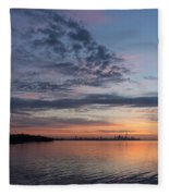Toronto Skyline In Pastel Blue Pink Yellow Orange And Purple Fleece Blanket