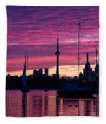 Toronto Skyline - The Boats Are Coming In Fleece Blanket