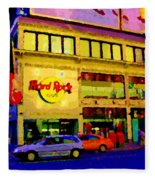 Toronto Street Scene Night Scapes Hard Rock Cafe Downtown Drive By City Lights Canadian Art Cspandau Fleece Blanket