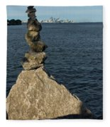 Toronto's Cn Tower Sculpted From Natural Stones Fleece Blanket