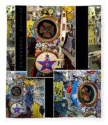 Torpedo Tubes Collage Russian Submarine Fleece Blanket