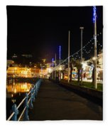 Torquay Victoria Parade At Night Fleece Blanket