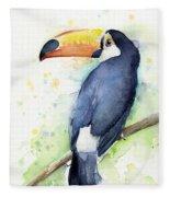 Toucan Watercolor Fleece Blanket