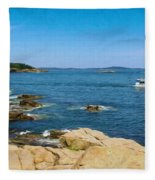 Touring The Rocky Shore Fleece Blanket