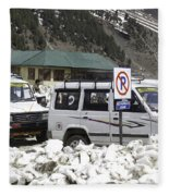 Tourist Vehicles Parked At The No Parking Sign In Sonmarg Fleece Blanket