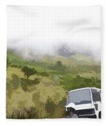 Tourists And Bus Inside The Eravikulam National Park Fleece Blanket