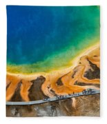 Tourists At Grand Prismatic Fleece Blanket
