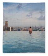 Tourists At Infinity Pool Of Marina Bay Fleece Blanket