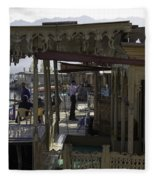 Tourists At The Front Section Of Houseboats Lined Up Along Dal Lake Fleece Blanket