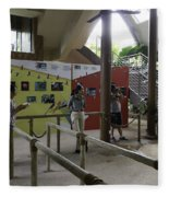 Tourists In A Queue At One Of The Exhibits Inside The Jurong Bird Park Fleece Blanket