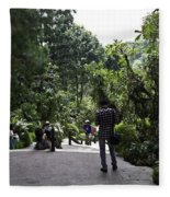Tourists Inside A Downward Sloping Section In The Orchid Garden Fleece Blanket