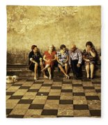 Tourists On Bench - Taormina - Sicily Fleece Blanket