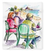 Tourists On The Costa Blanca In Spain Fleece Blanket
