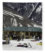 Tourists Surrounded By Snow And Ice Outside One Of The Few Buildings Fleece Blanket