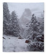 Towards Top Of Bear Peak Mountain During Intense Snow Storm - North Side Fleece Blanket