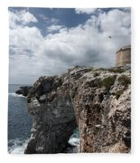 Stunning Tower Over The Cliffs Of Alcafar In Minorca Island - Tower And Sea Fleece Blanket