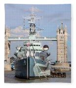 Tower Bridge And Battleship 5863 Fleece Blanket
