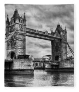 Tower Bridge In London Uk Black And White Fleece Blanket