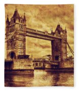Tower Bridge In London Uk Vintage Style Fleece Blanket