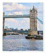 Tower Bridge Panorama Fleece Blanket