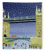 Tower Bridge Skating On Thin Ice Fleece Blanket