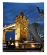 Tower Bridge The Dolphin And The Girl Fleece Blanket