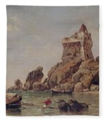 Tower Of Erchia, Gulf Of Salerno, 1849 Oil On Canvas Fleece Blanket